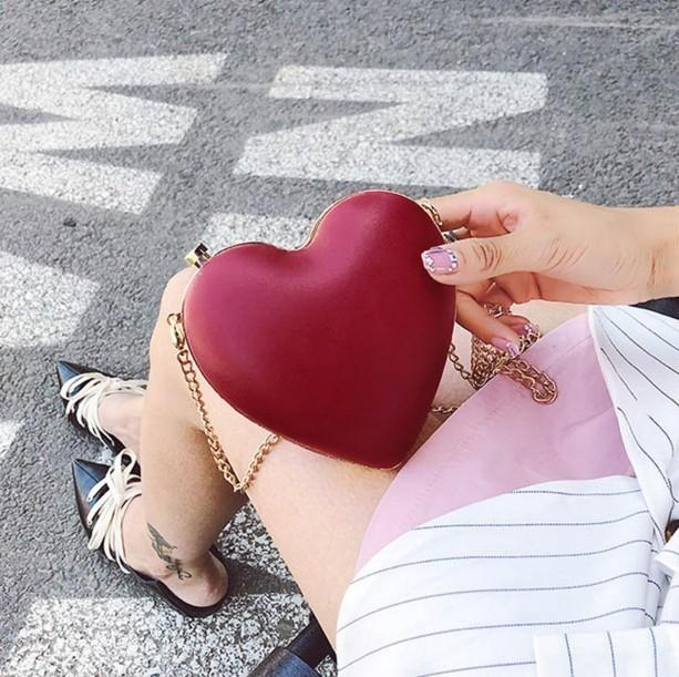 Decent2019 Package Gift Love Alcohol Red Heart Slant Hand Take Woman Bag You Dinner Meeting Mini- Chain Packet