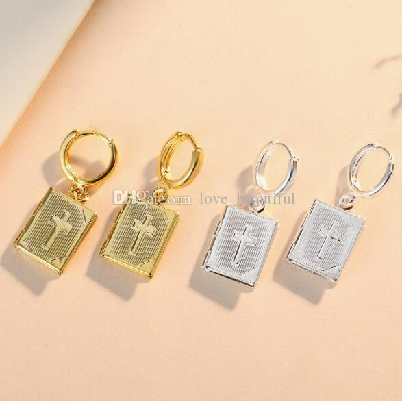 2018 Hot sales Cross Phase box Earrings May open Can put photo Earrings Golden silvery woman Madam Fashion accessories