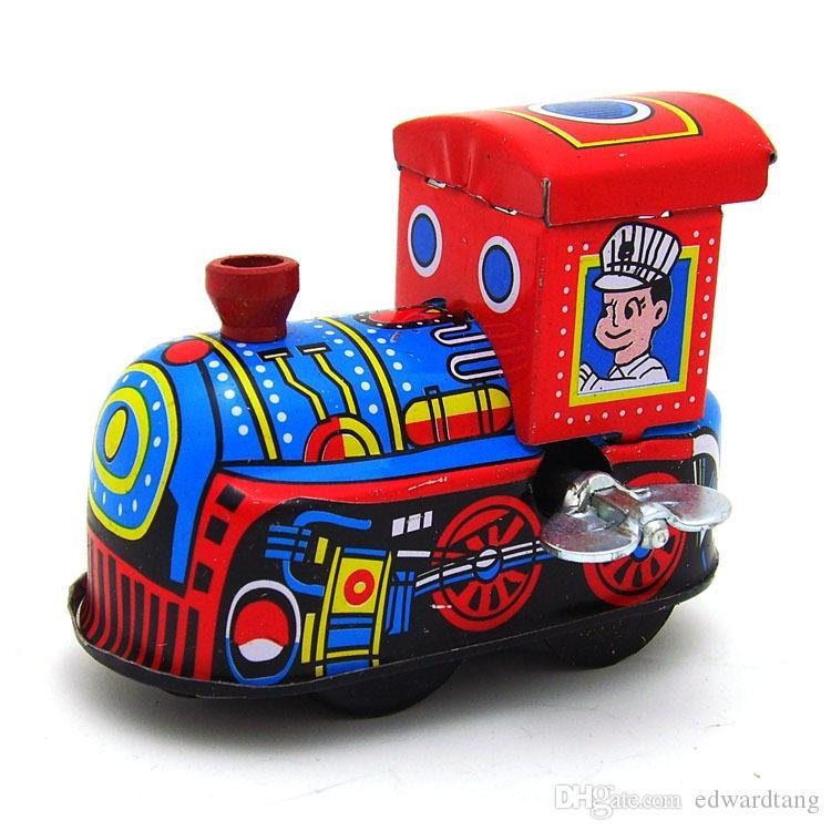 Cartoon Winding-upTin Steam Train, Manual Handcraft, Nostalgic Toy,Photography Props, Home Accessories, Kid' Party Birthday Gift, Decoration
