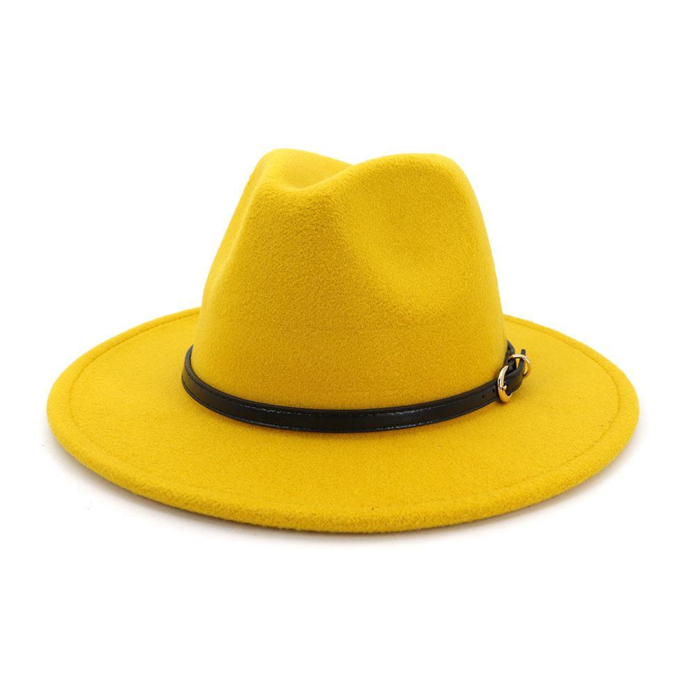 2020 اسعة بريم فيدورا الرجال الصوف ورأى القبعات الكاكي عارضة الجاز قبعة المرأة كبير بريم الصلبة حزام أزياء الخريف فيدورا قبعات الأسود