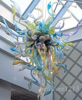 펜던트 램프 100 % 입 블로운 붕 규산 마노 샹들리에 펜던트 라이트 아트 유리 공예 전통 샹들리에 램프