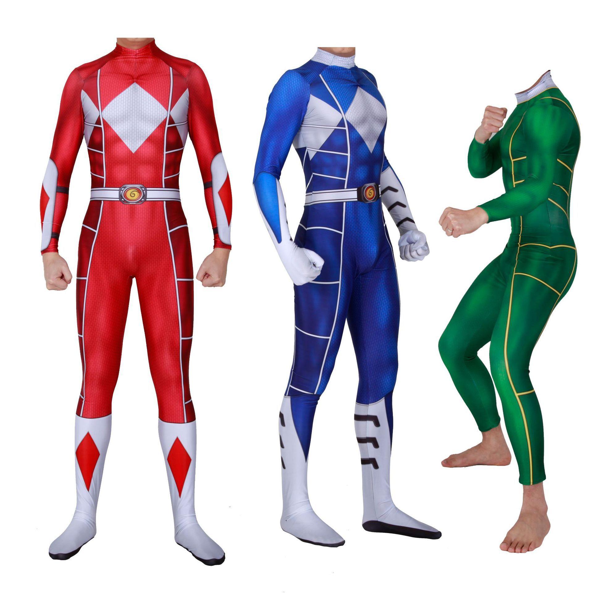3D Print Kyoryu Sentai Zyuranger Ranger Cosplay Costume Red/Blue/Green  Rangers Bodysuit Cheap Zentai Suit Womens Halloween Costume Haloween  Costume