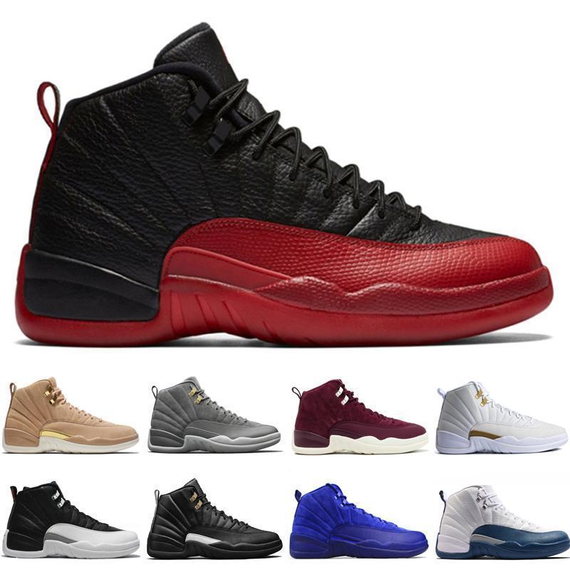Дешевые кроссовки 12 12s мужчин баскетбол обувь Пшеничный Темно-серый бордо Flu игры Мастер Такси Playoffs Французский университет Синий Красный Центр спорта