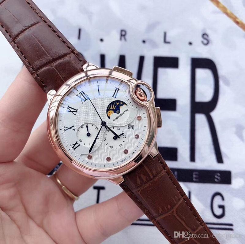 Tous les sous-cadrans travail occasionnel Montres Hommes Sport Chronographe Chronomètre Montre-bracelet à quartz Top bracelet en cuir relogies pour le cadeau des hommes
