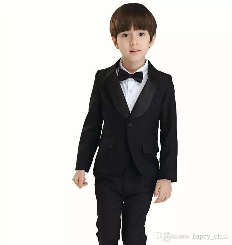 Hot Sale Shawl Black Lapel One Button Blazer Kid Suits 3 Piece Boy Party Tuxedos