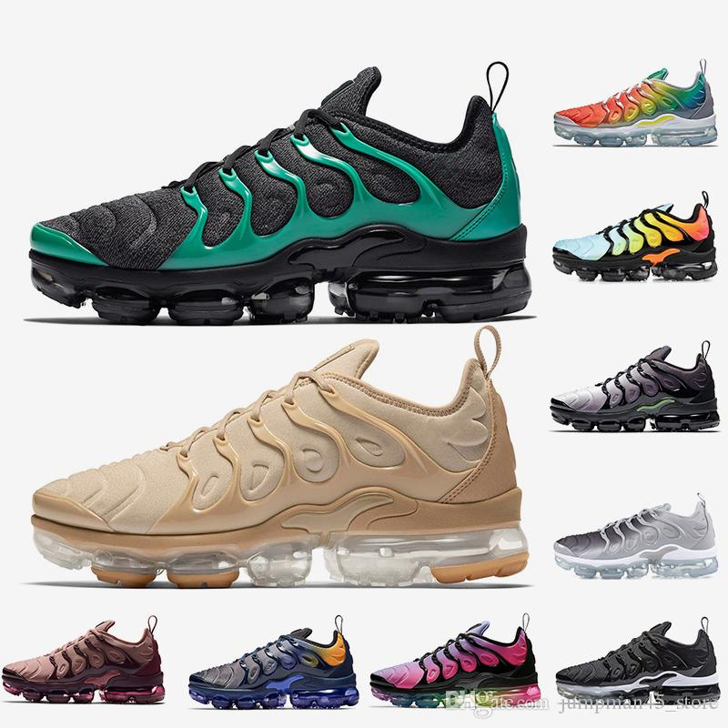 Cheap TN Plus shoes Men Women Running Shoes STRING Black Green Rainbow Silver Hyper Violet Volt Trainers Sport Sneakers Size 36-45