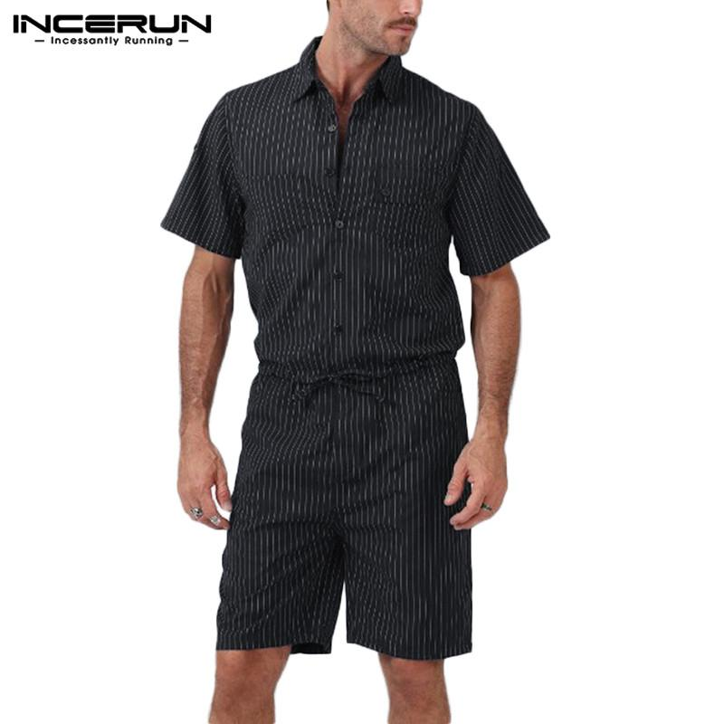 INCERUN 2020 Fashion Men Striped Rompers Overalls Short Sleeve Lapel Pockets Jumpsuit High Street Trousers Casual Male Playsuits