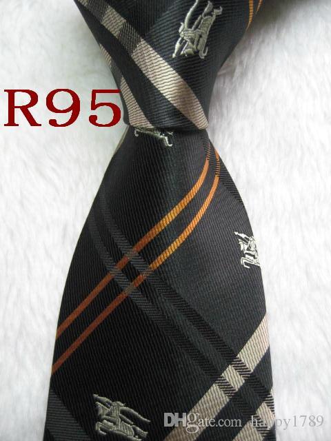 Gravata do laço R95 Número 100% de seda jacquard dos homens Handmade Woven