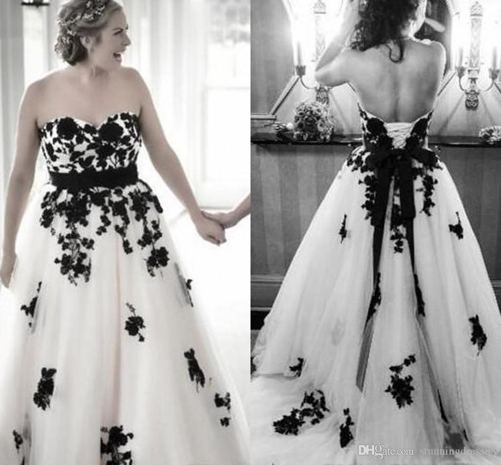 Sexy Black and White Country Wedding Dresses Bridal Gowns Plus size Sweetheart Tulle Ribbon Corset Back Wedding Reception Dress Boho