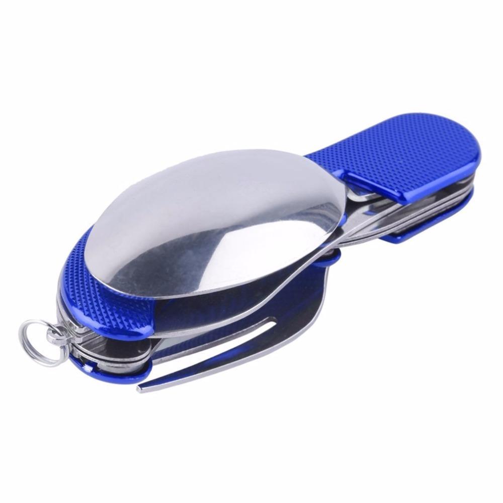 التخييم في الهواء الطلق شوكة المحمولة أدوات المائدة سكين، الفولاذ المقاوم للصدأ 3 in1 ومجموعات سفر متعددة الوظائف قابلة للطي سكين SpoonFork