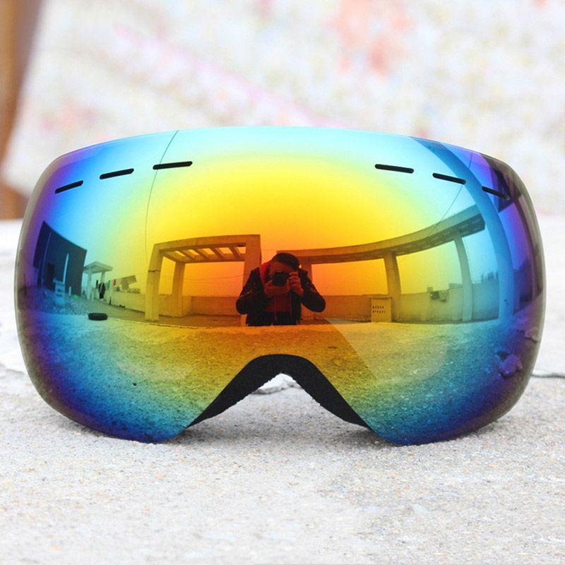 Ski Goggles Professional Anti-fog Double Lens UV400 Big Spherical Men Women Ski Glasses Skiing snowboard goggles personality Dazzling color