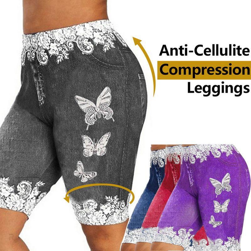 Nuove donne di modo più il formato Farfalla Magro stampa casuale Jeggings Faux denim Jean dei pantaloni di bicchierini