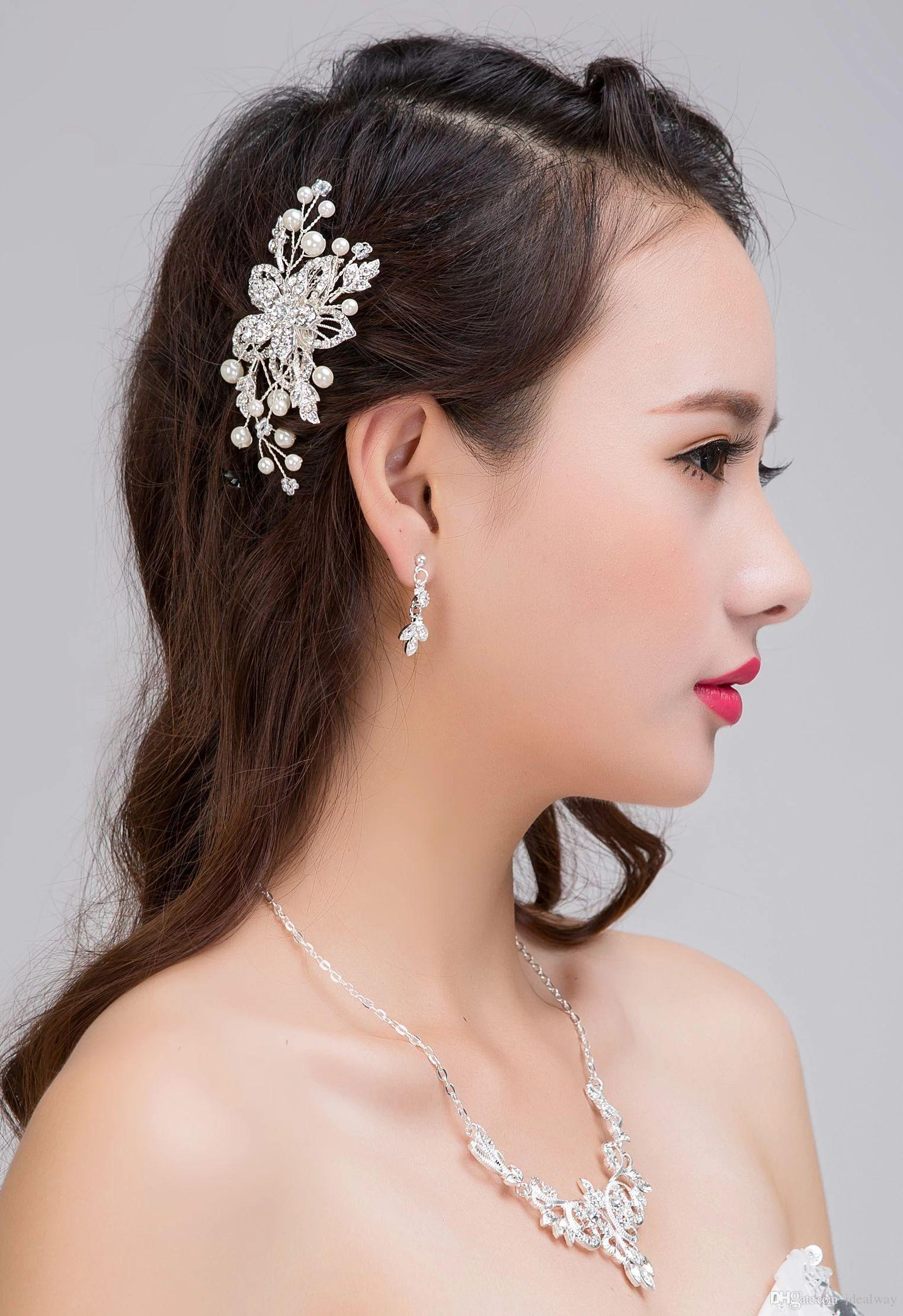Clip nueva perla de la flor del Rhinestone de pelo del peine del pelo Señora salvaje novia dama de cabeza Accesorios de boda joyería