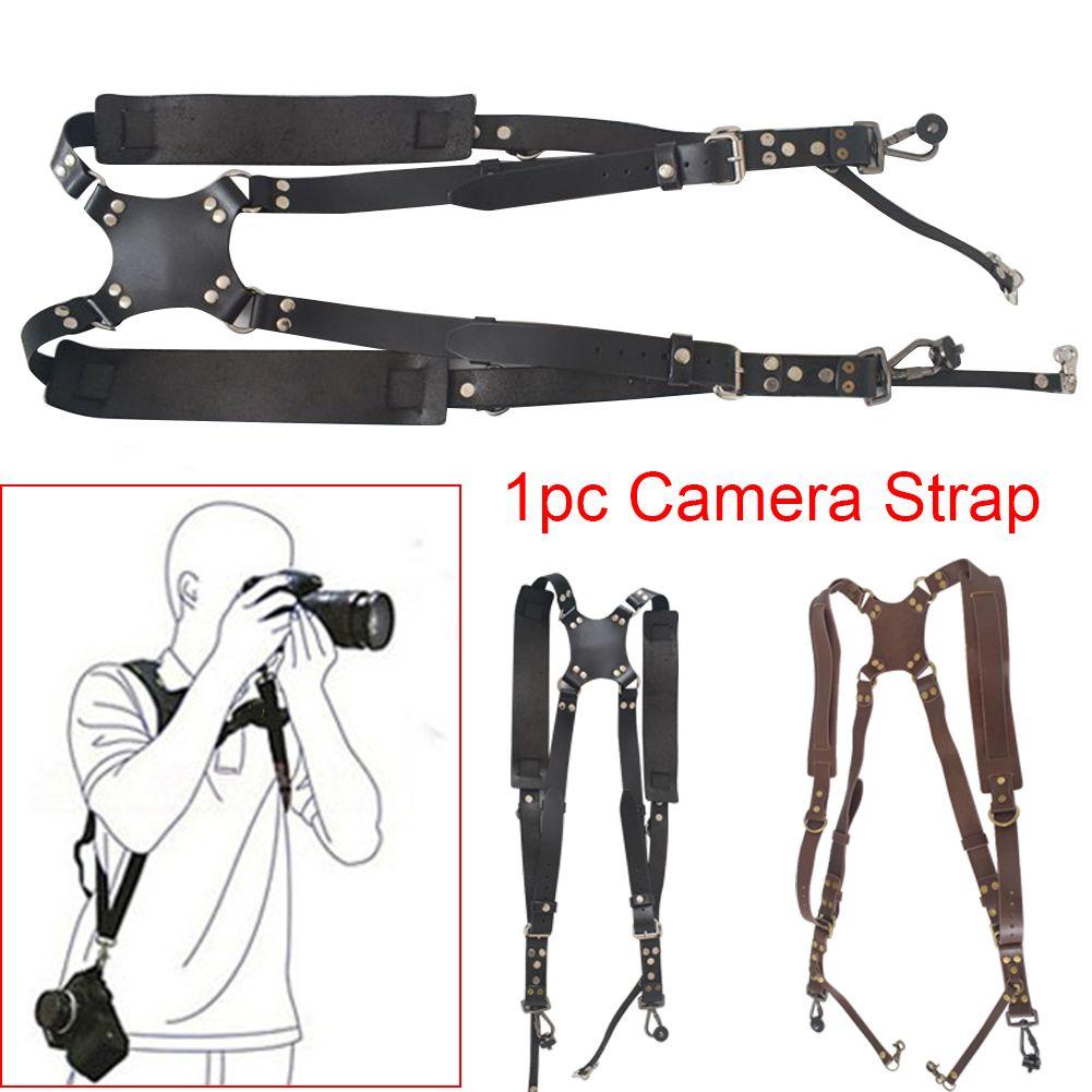 Outdoor Camera Strap Artificial Leather Travel Harness Dual Shoulder Portable DSLR Retro Universal Quick Release Accessories
