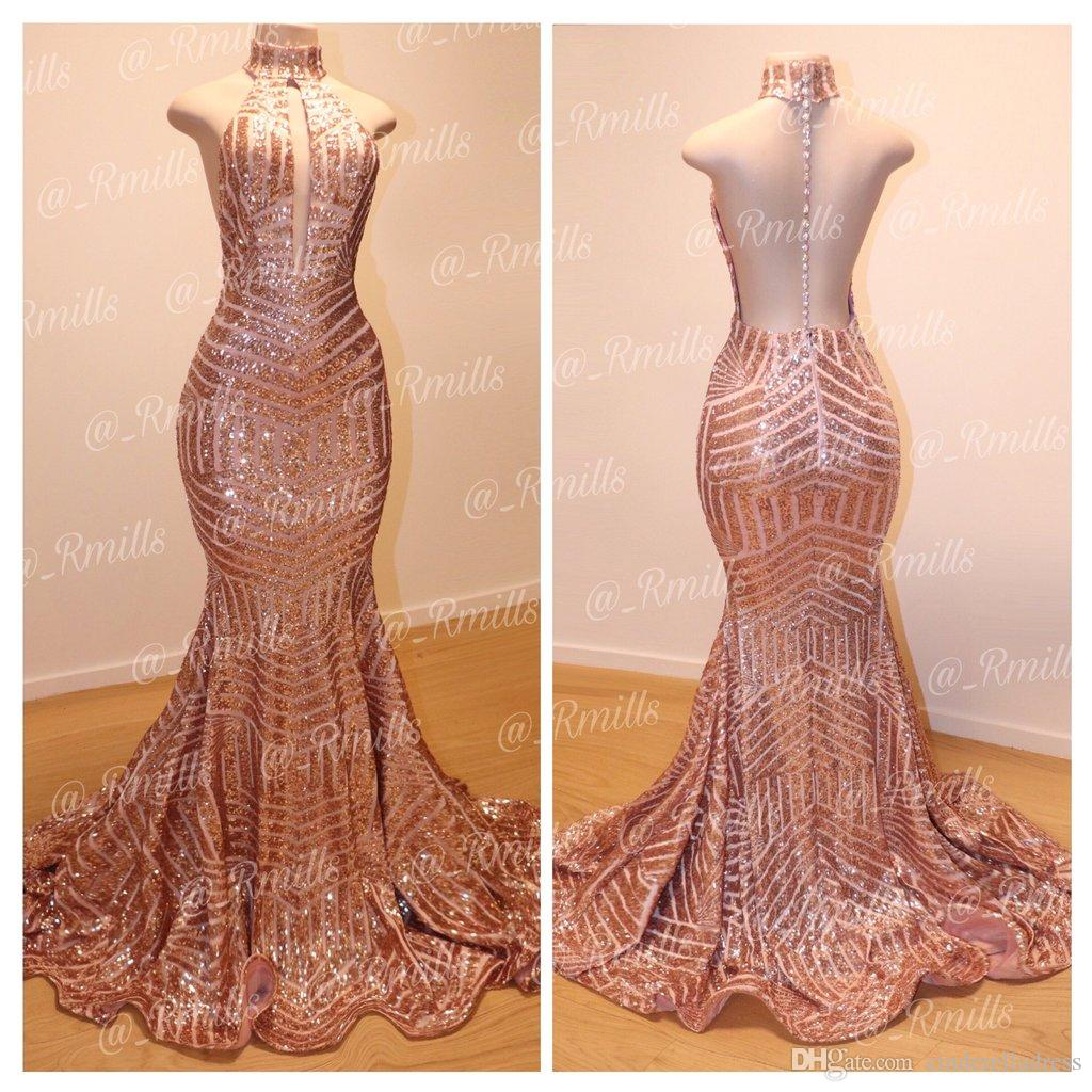 2020 Sexy Rose Gold Backless Mermaid Sequins Long Prom Dresses High Neck Full Length Elegant Vintage Long Maid Of Honor Bridesmaid Gowns