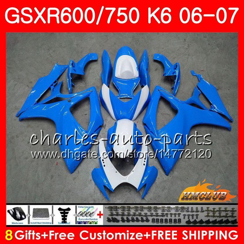 Cuerpo para Suzuki GSX R750 GSX R600 GSXR 600 750 Sky Blue Hot GSXR750 06-07 8HC.95 GSXR-750 GSX-R600 K6 GSXR600 06 07 2006 2007 Kit de carga
