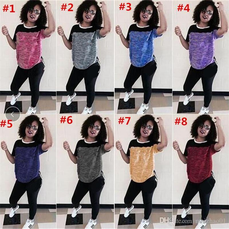 Brief Drucken Frauen Trainingsanzug Mode Design Sportswear Kurzarm T-Shirt Tops + Hosen Leggings 2 Stück Set Sports T Shirts Hosen 2020