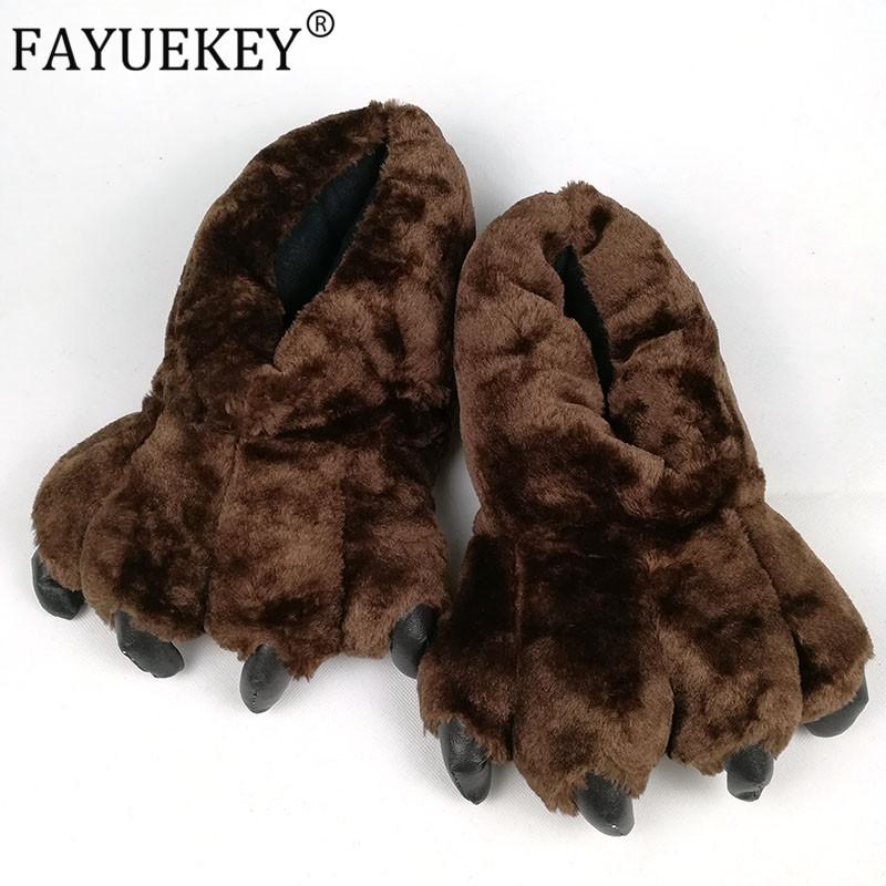 FAYUEKEY 2020 Primavera Inverno casa calda zampa peluche Pantofole termica cotone morbido Funny Animal Natale Artiglio pantofole Scarpe MX200425