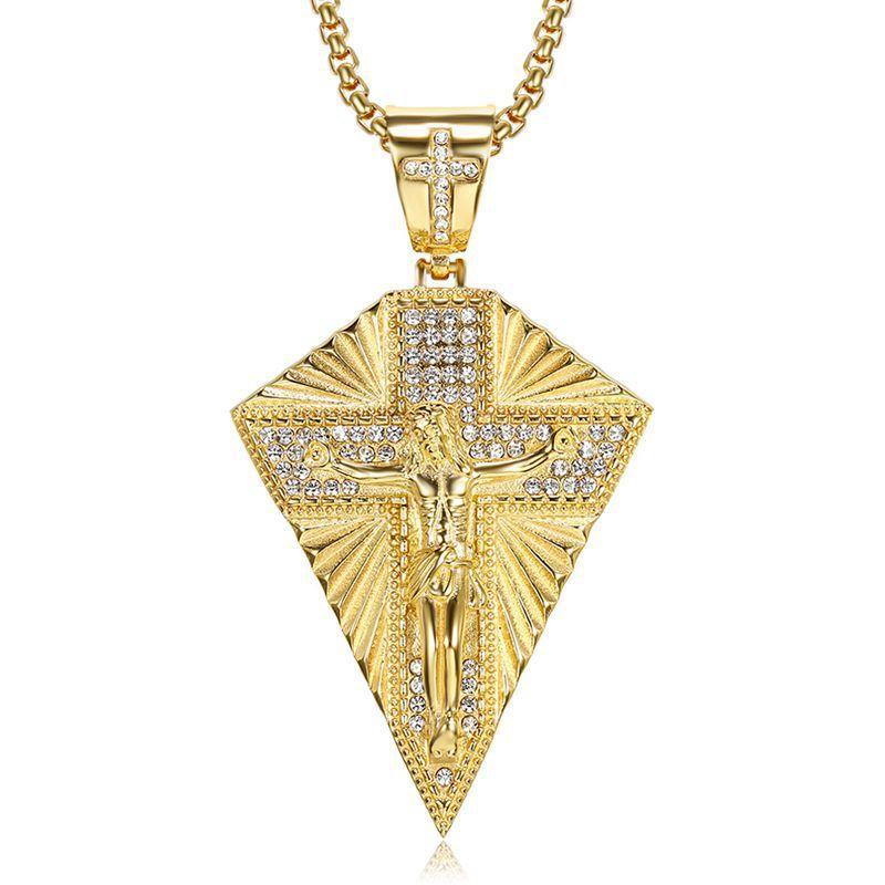Erkekler Rapçi Takı için Hip Hop Bling buzlu Out Rhinestones Altın Gümüş Renk Paslanmaz Çelik INRI haç haç kolye kolye