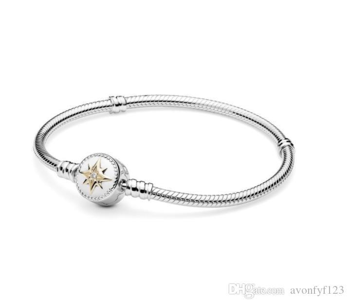 PINK Herz-Liebe-Kompass-Armband-Armband setzt Original Kasten für Pan 925 Sterlingsilber Schlange Charm Bracelets Frauen-Geschenk Schmuck W255