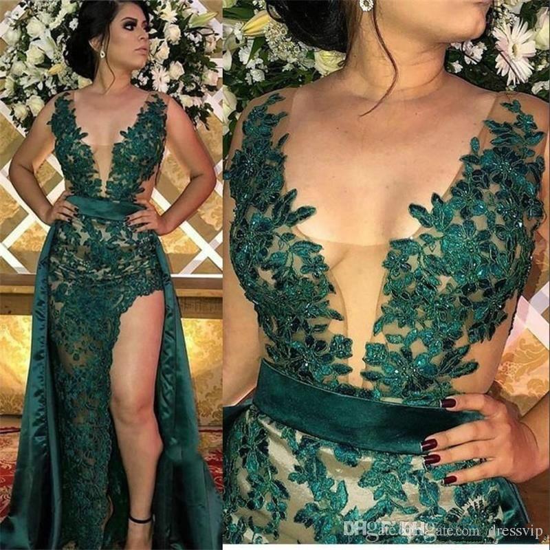 Sexy DArk Verde Dresa Evening Formal com destacável saia Appliqued Sexy Side Dividir Vestidos de baile Longa 2019