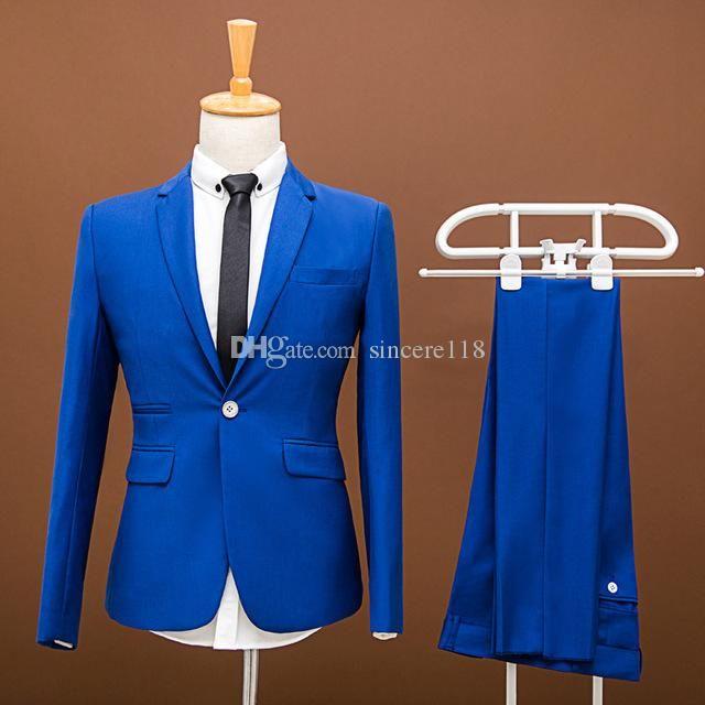 Модный Royal Blue Groom Смокинги, Красивый Slim Fit мужчин Свадебного Groomsmen Бизнес партии Пром костюмы (куртка + брюки + галстук) W: 866