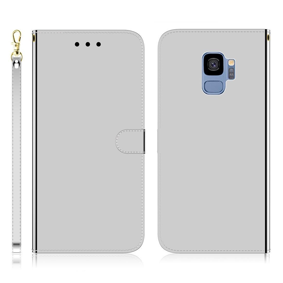Para o Caso de couro flip Galaxy S9 imitado espelho superfície horizontal com Titular Slots Carteira Lanyard