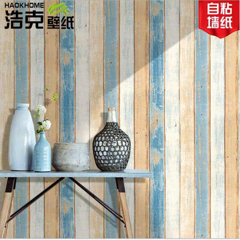 3D Mediterranean Wood Grain self adhesive Wallpaper Roll Living Room Home Decor Furniture Wall Stickers Pvc Contact paper