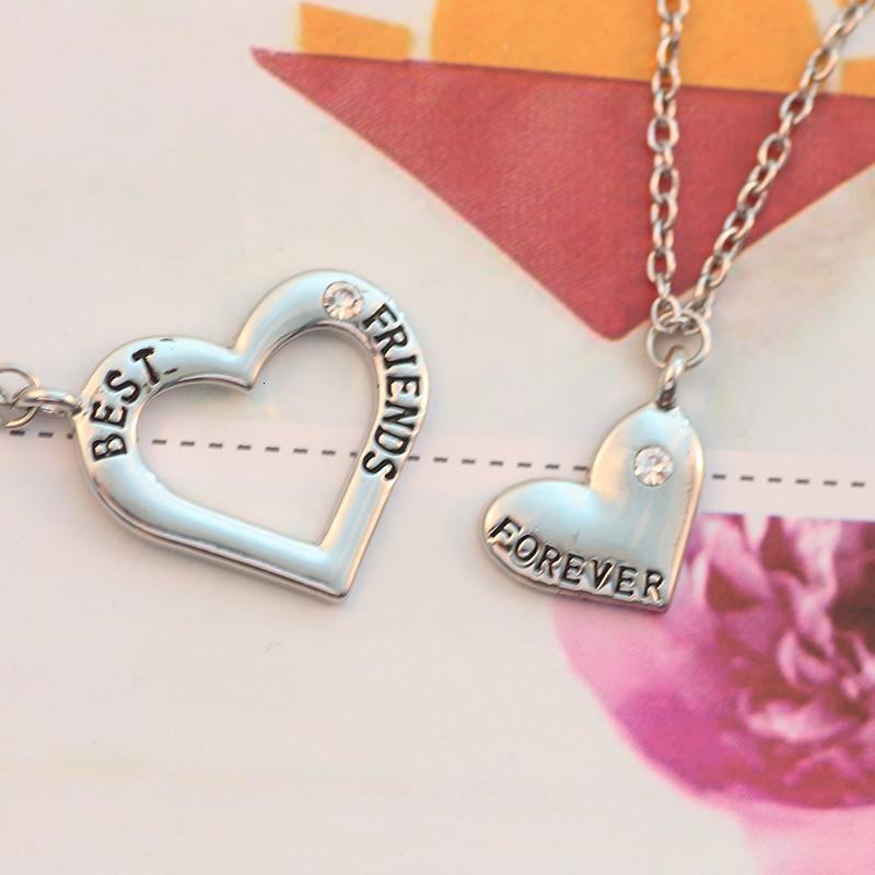 2 pc / insieme Best Friends collana per la collana del pendente delle ragazze delle donne del cuore di puzzle di cristallo scava fuori Bff amicizia per sempre gioielli
