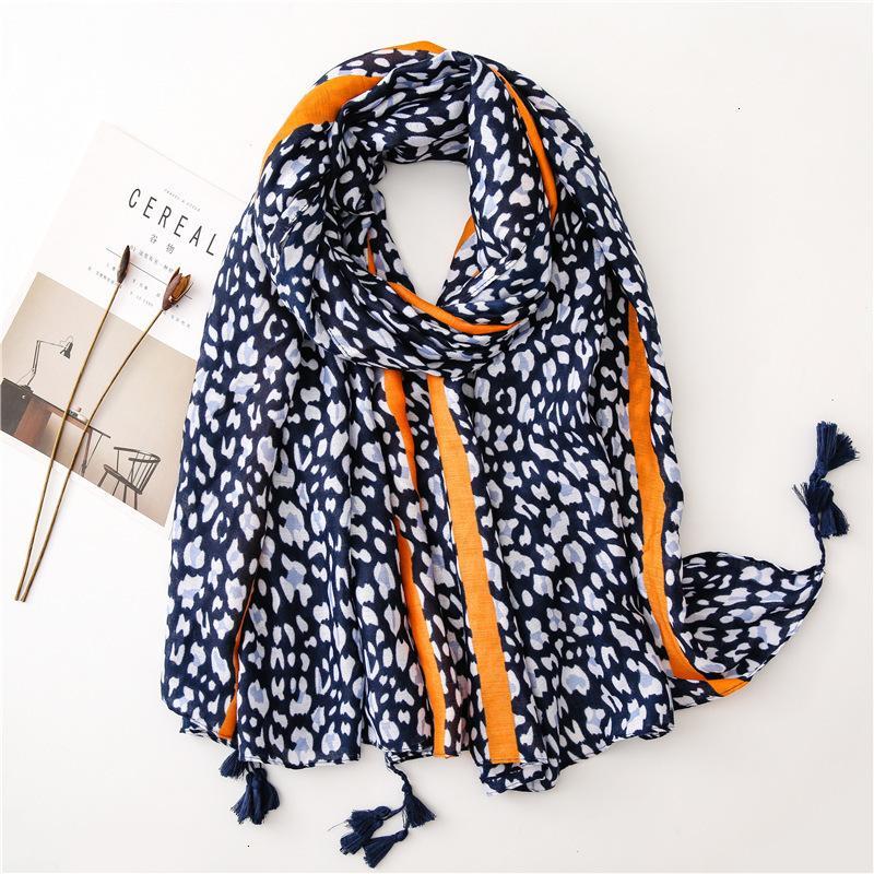 Классический Leopard печати Leopard точка шарф Длинные All-матч мэм Хлопок шелковый шарф двойного назначения платок