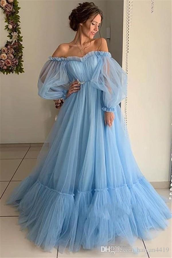 Vintage Cheap Sky Blue Pink Evening Dresses for Women Off Shoulder Poet Long Sleeves Full Tulle Floor Length Formal Prom Dress Party Gowns