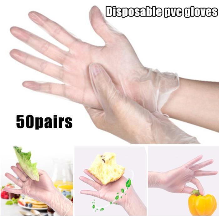 50 Paar Einweghandschuhe PVC wasserdichte Klare Handschuhe für Haushaltsreinigung Baking Ölbeständiges Transparent Einweg-Handschuhe Großhandel
