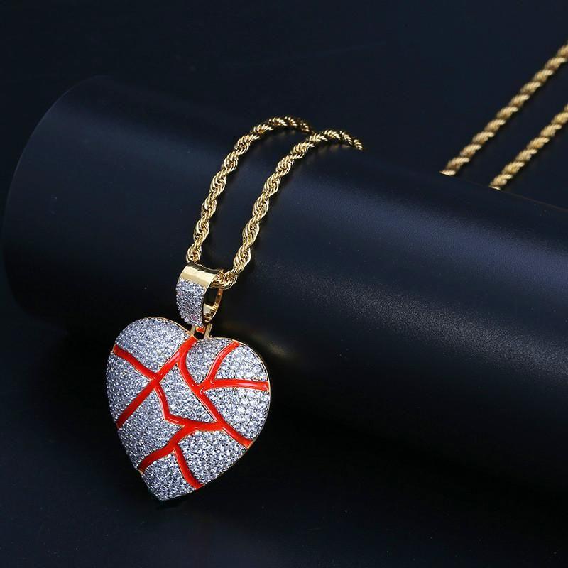 Hiphop Joyas Hombre Corazón Colgante Collar Ice Out 18K Chapado en oro Collar Hombres Joyas de circonio cúbico