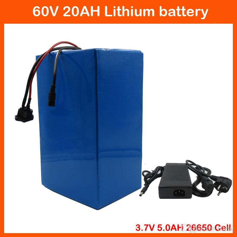 60V 1800W Ebike Батарея 60V 20AH Литиевая аккумуляторная батарея клетки таможенный сбор 30А BMS 67.2V 2A Charger Free 3.7V 5000mAh 26650