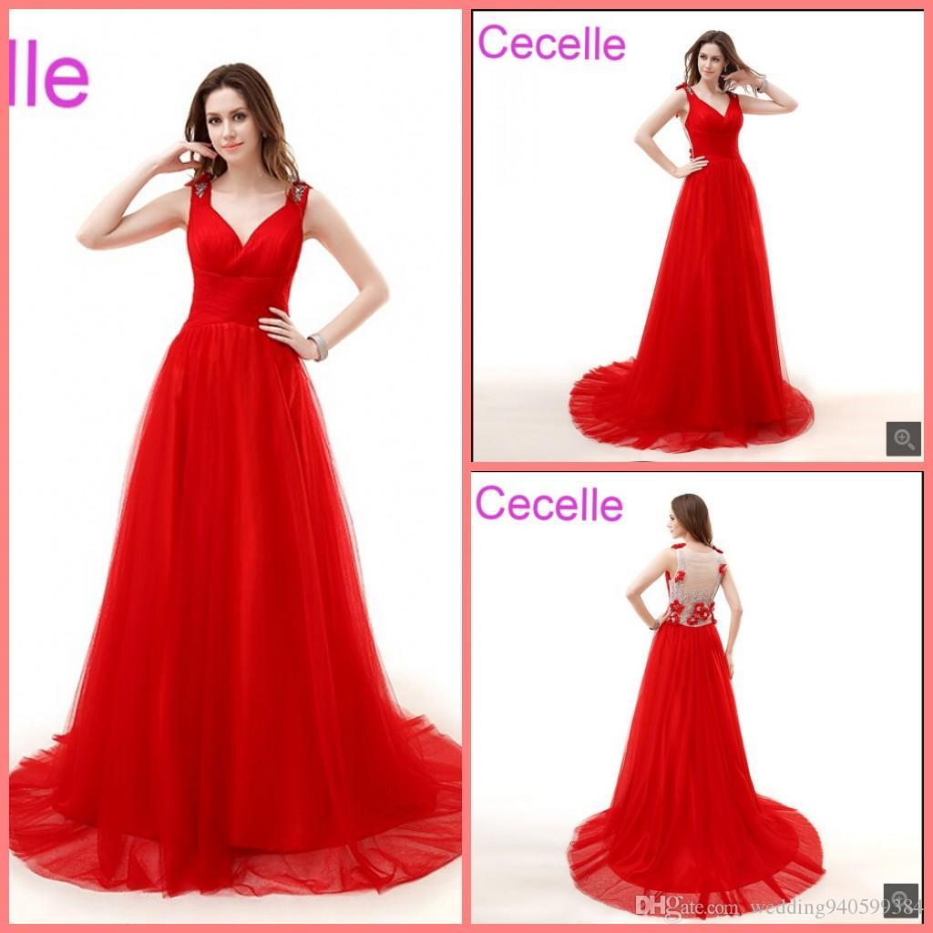 Vestidos de noche largos rojos 2019 con correas Con cuello en V Sin mangas de tul Mujeres Elegantes elegantes vestidos de fiesta de noche por encargo