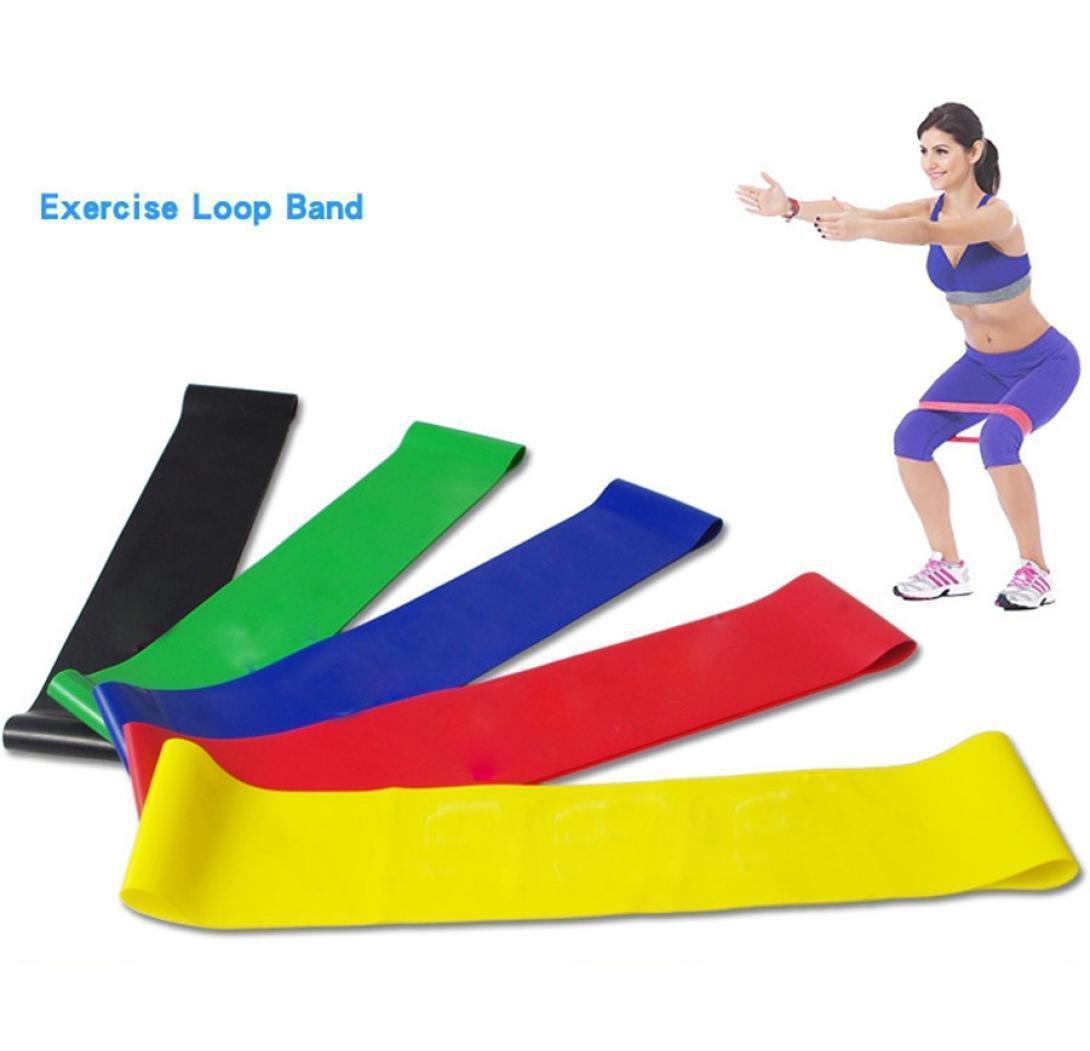 Yoga Pilatus Stretch-Widerstand-Bänder Set Übung Fitness-Schleife Trainings Tension elastischer Gurt Naturlatexband 5pcs / lot Parteibevorzugungs FFA3892