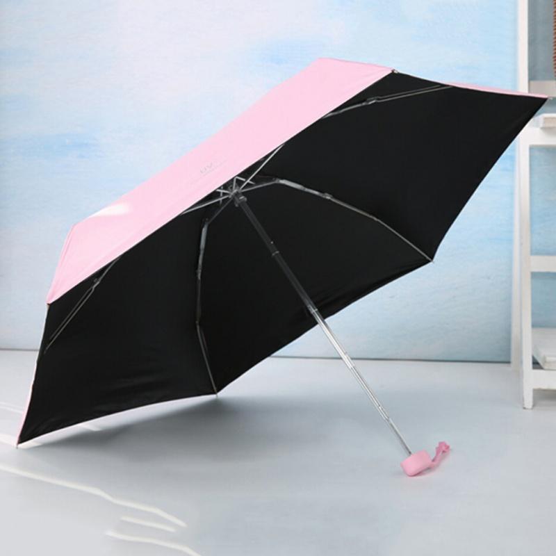 Pequeno fresco Proteção UV Sun Sombra Vinyl Umbrella Cinco Folding claro guarda-chuva para as Mulheres Homens Estudantes