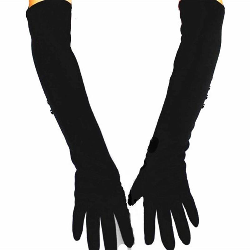 48 cm de long gants tricotés femmes matériel coton sur les velours d'armure longueur du coude printemps chaud et doublure promotion automne Y191112