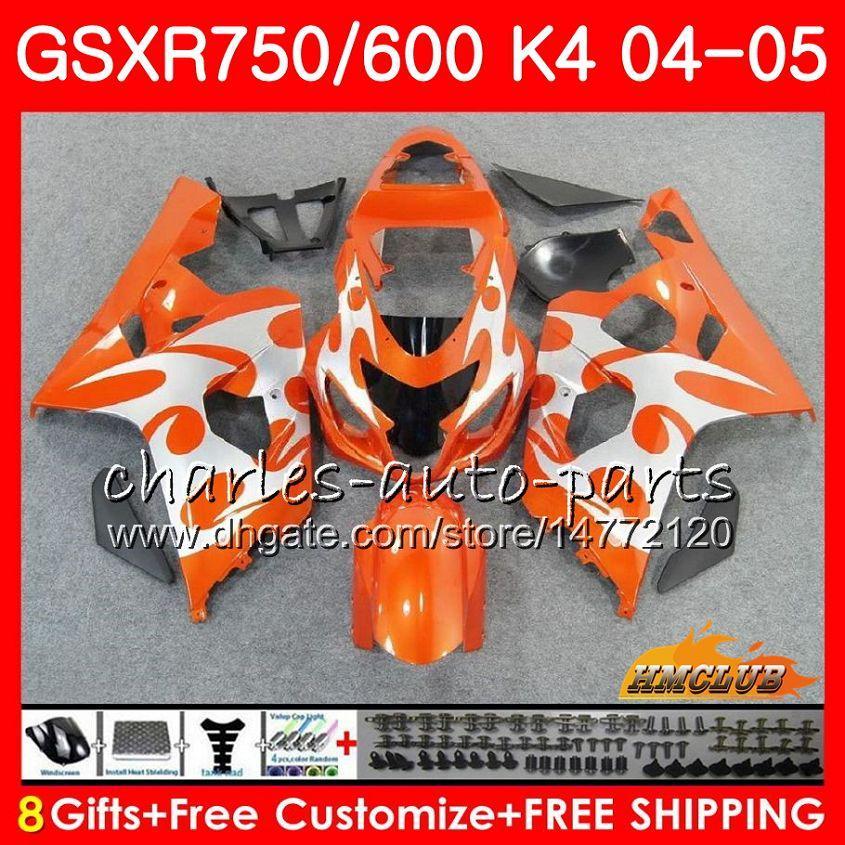 Bodys para Suzuki 750 GSX R600 R750 GSXR600 2004 2005 7HC.58 GSXR 600 04 05 GSXR750 plata Naranja GSXR600 K4 GSXR750 04 05 carenados