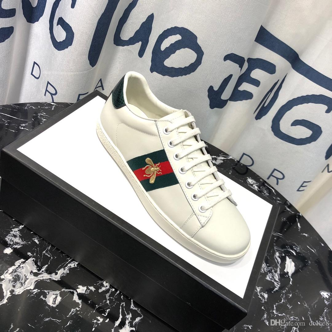 High Quality MensDesigner Shoes White Leather Ace Embroidered Bee Sneakers  Men Women Platform Casual Shoes 18sGucci Cheap Shoes For Men Purple Shoes