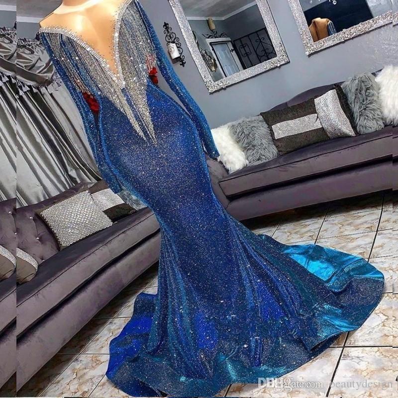 Lentejuelas completas Sirena reflectante Azul Vestidos de baile Cuentas Escote transparente Manga larga Vestidos de noche Con borlas Tren de barrido Vestido de fiesta formal