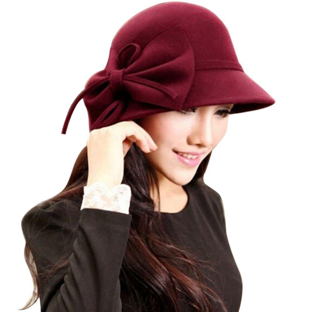Элегантные Женщины Hat Осень Зима Женщины Vintage Твердые Fedora Hat Бантом Ретро Повседневная Cap Широкими Полями Floppy Cloche Chapeu Feminino D19011102