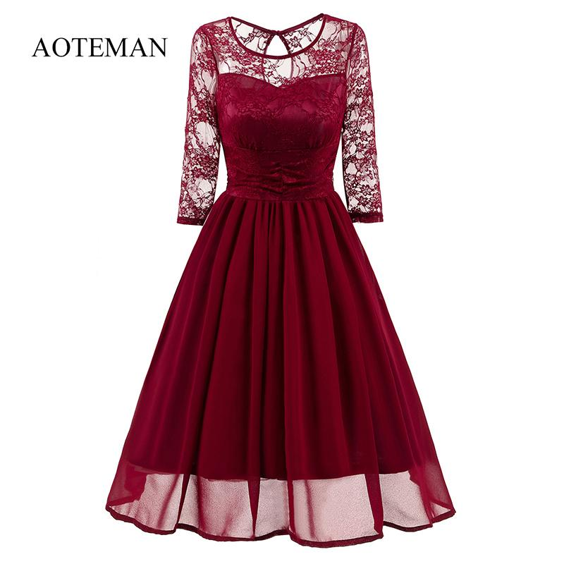 Aoteman frauen vintage dress sommer 2019 casual sexy hohl top dress elegante party o-ansatz dünne ball dress party vestidos y19071101