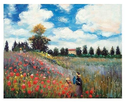 Famoso Campo di papaveri a Argenteuil di Claude Monet di alta qualità astratta dipinta a mano di arte della pittura a olio su tela di canapa di arte della parete del Ministero dicembre VA 13