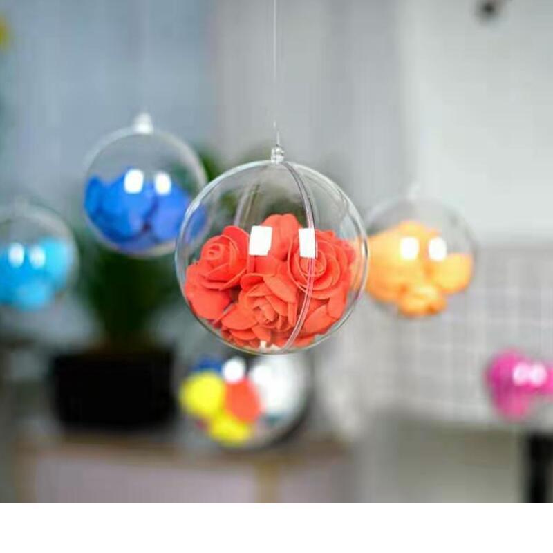 Casamento Decoração da árvore de Natal 80 milímetros Transparente Abertura de plástico transparente Fillable Bola Baubles 200pcs Caixa de doces do presente