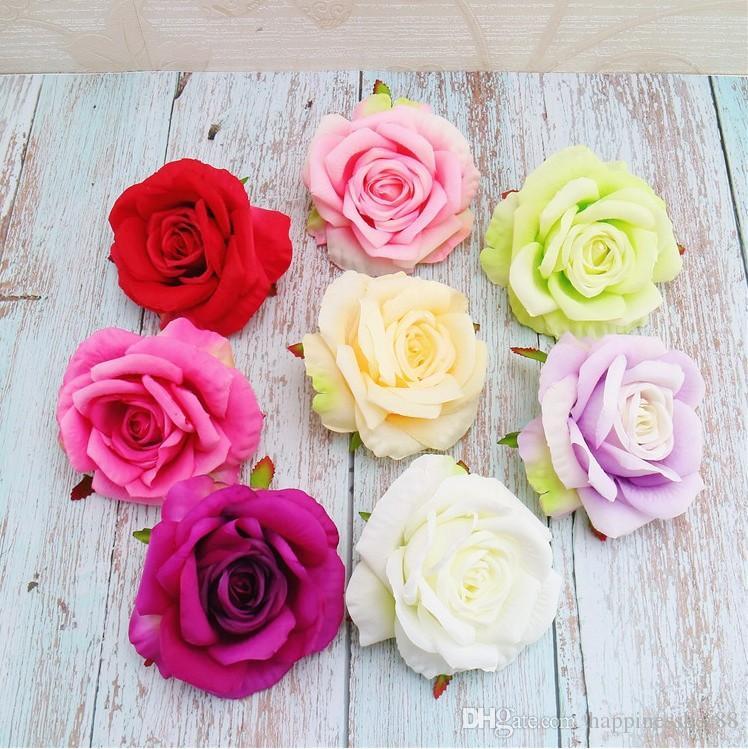 50pcs 11cm high quality artificial flower silk rose flower head wedding decoration diy wreath clip art fake flower decoration