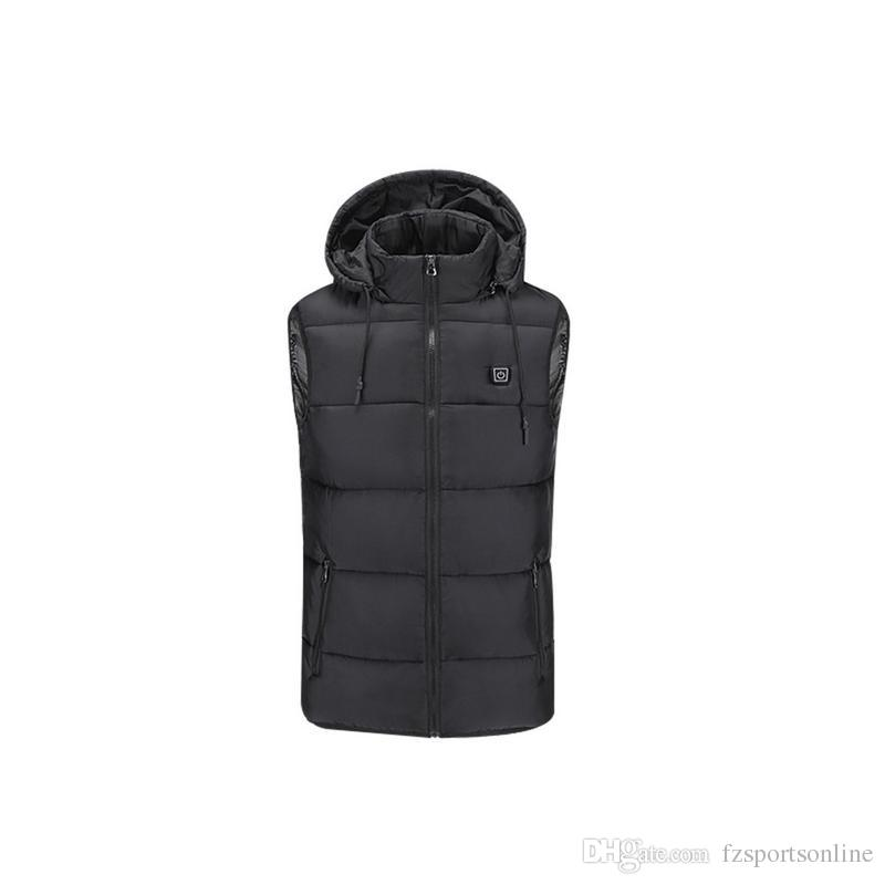 Outdoor Riding Down Jacket Warm Jacket USB Charging Cotton Smart Heating Vest Hooded Electric Cotton Clothing #353911