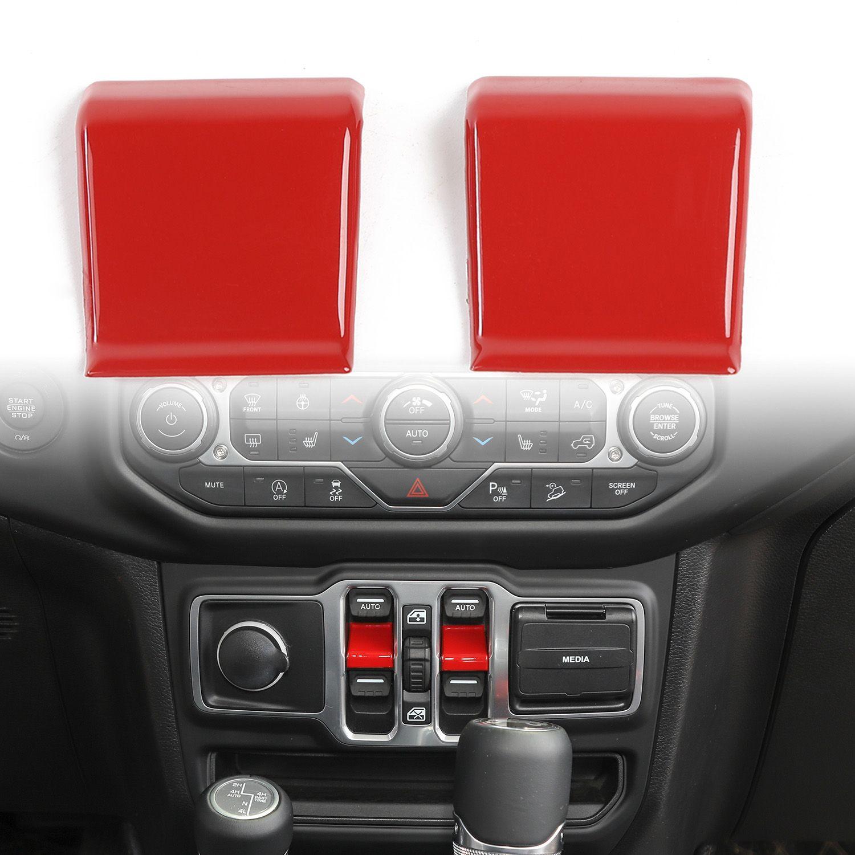 Decoración Roja ABS Ventana llave del coche parche para Jeep Wrangler 2018 JL Up Factory Outlet Accesorios para automóviles Interna