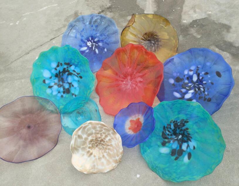 Özel El Yapımı Murano Lamba Plaka Çiçek Tasarım Ağız Üflemeli Cam Lambaları Çok Renkli Asılı Plakalar Duvar Sanatı