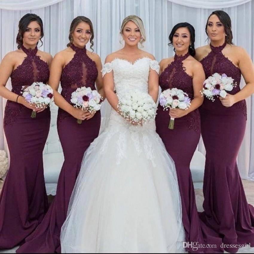 2019 Burgundia Koronki Koronki Druhna Dresses Keyhole Sheer Neck Custom Made Mermaid Wedding Gośną Gown Vestido Gadern Ślub BM0982